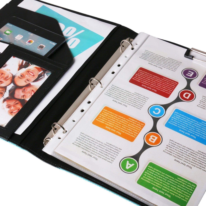 Z PLINRISE Luxury Marble Portfolio File Folder Document Resume Organizer,Padfolio File Holder Folders Letter Size,Standard 3 Ring Binder with Clipboard (Black and White Diamond) by Z PLINRISE (Image #5)