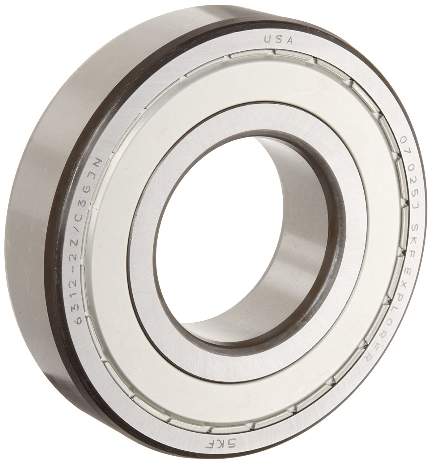 SKF 6305 2ZJEM Medium Series Deep Groove Ball Bearing, Deep Groove Design, ABEC 1 Precision, Double Shielded, Non-Contact, Steel Cage, C3 Clearance, 25mm Bore, 62mm OD, 17mm Width, 2610lbf Static Load Capacity, 5060lbf Dynamic Load Capacity 6305-2ZJEM
