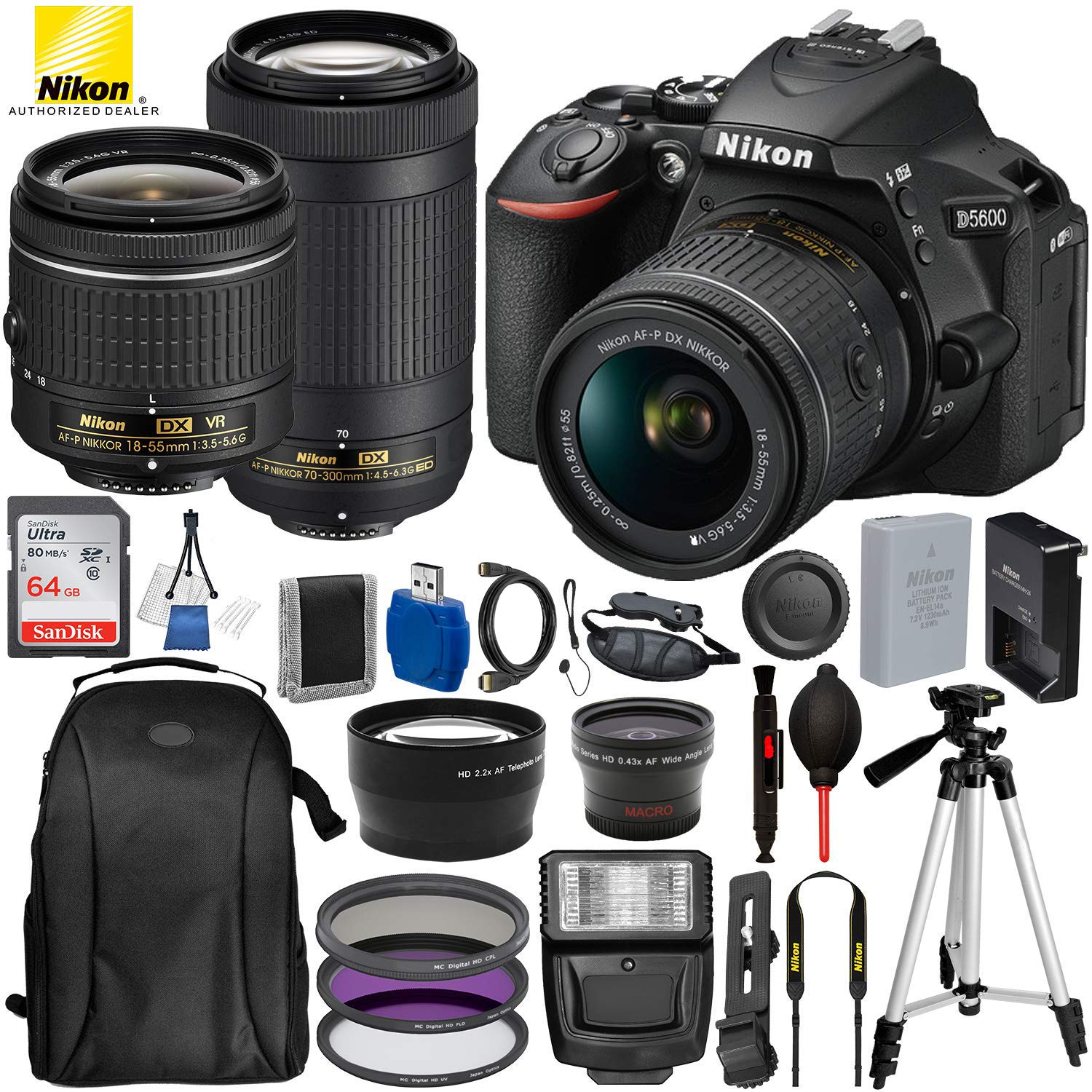 "Nikon D5600 DSLR Camera with 18-55mm and 70-300mm Lenses and 15PC Accessory Bundle – Includes SanDisk Ultra 64GB SDHC Memory Card + Digital Slave Flash + 3PC Filter Kit + 50"" Tripod and More"