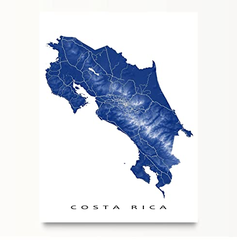 Amazon costa rica map print country art wall decor san jose costa rica map print country art wall decor san jose central america gumiabroncs Image collections