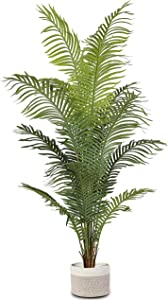 """Elpidan- Artificial Areca Palm Tree Plant Decor 72"""", Fake Palm Tree Plants, Silk Faux House Plants Indoor Tree, Fake Plant 