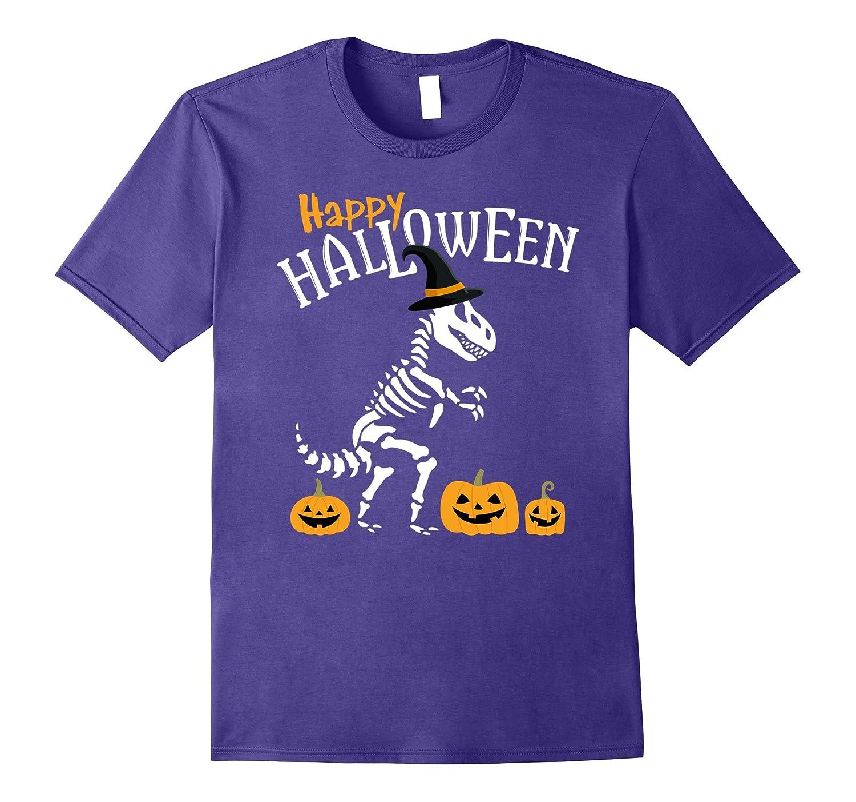Happy Halloween Shirt T-Rex Witch Skeleton Pumpkin Dinosaur-TJ