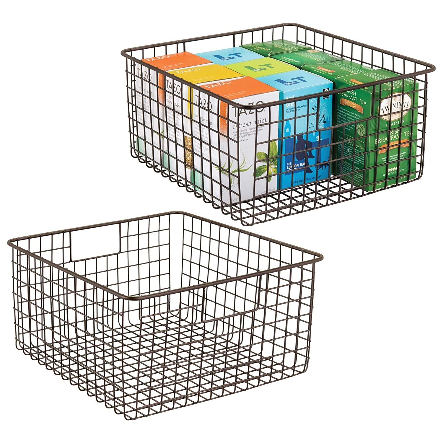"mDesign Farmhouse Decor Metal Wire Food Storage Organizer, Bin Basket with Handles for Kitchen Cabinets, Pantry, Bathroom, Laundry Room, Closets, Garage - 12"" x 12"" x 6"" - 2 Pack - Bronze"