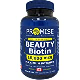 Promise Beauty Biotin - 10,000mcg, Maximum Potency, Extra Strength, For Healthy Hair, Skin and Nails, Made in Canada (60 +30