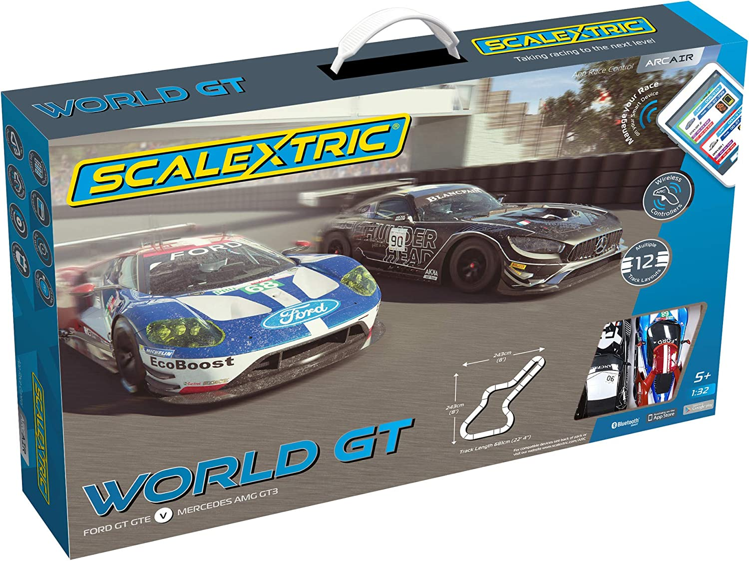 Scalextric App Race Control ARC Air World GT Mercedes AMG GT3 vs Ford GT GTE 1:32 Analog Slot Car Race Track Set C1403T