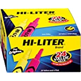 HI-LITER Desk Style, Yellow and Pink, Pack of 24 (98189)