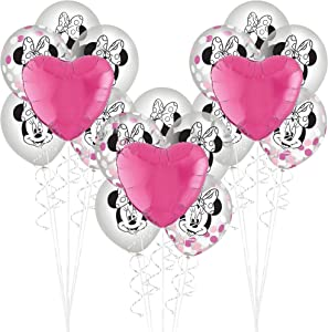 Party City Minnie Mouse Forever Balloon Bouquet Supplies, Pink Heart Balloons, Confetti Latex Balloons, Silver Ribbon