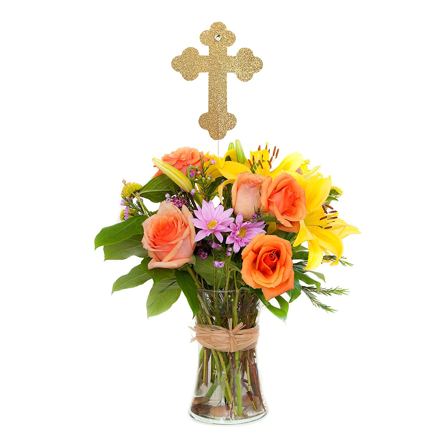 Cross Centerpiece Stick (Set of 3), Baptism Centerpiece Stick, Christening Party Decorations