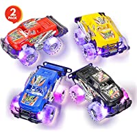 ArtCreativity Light Up Monster Truck Set for Boys and Girls Set Includes 2, 6 Inch Monster Trucks with Beautiful Flashing LED Tires - Push n Go Toy Cars Best Gift for Kids - for Ages 3+