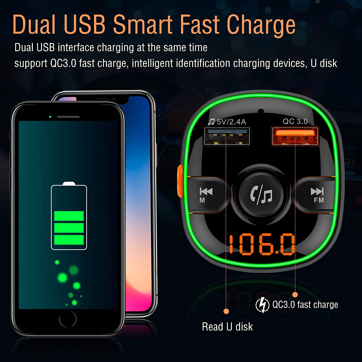 Arsvita Bluetooth Car FM Transmitter Wireless Audio Adapter Receiver Color Light Support Siri//Google Voice Wake-up with QC3.0 Quick Charge Dual USB Ports and Support TF Card.