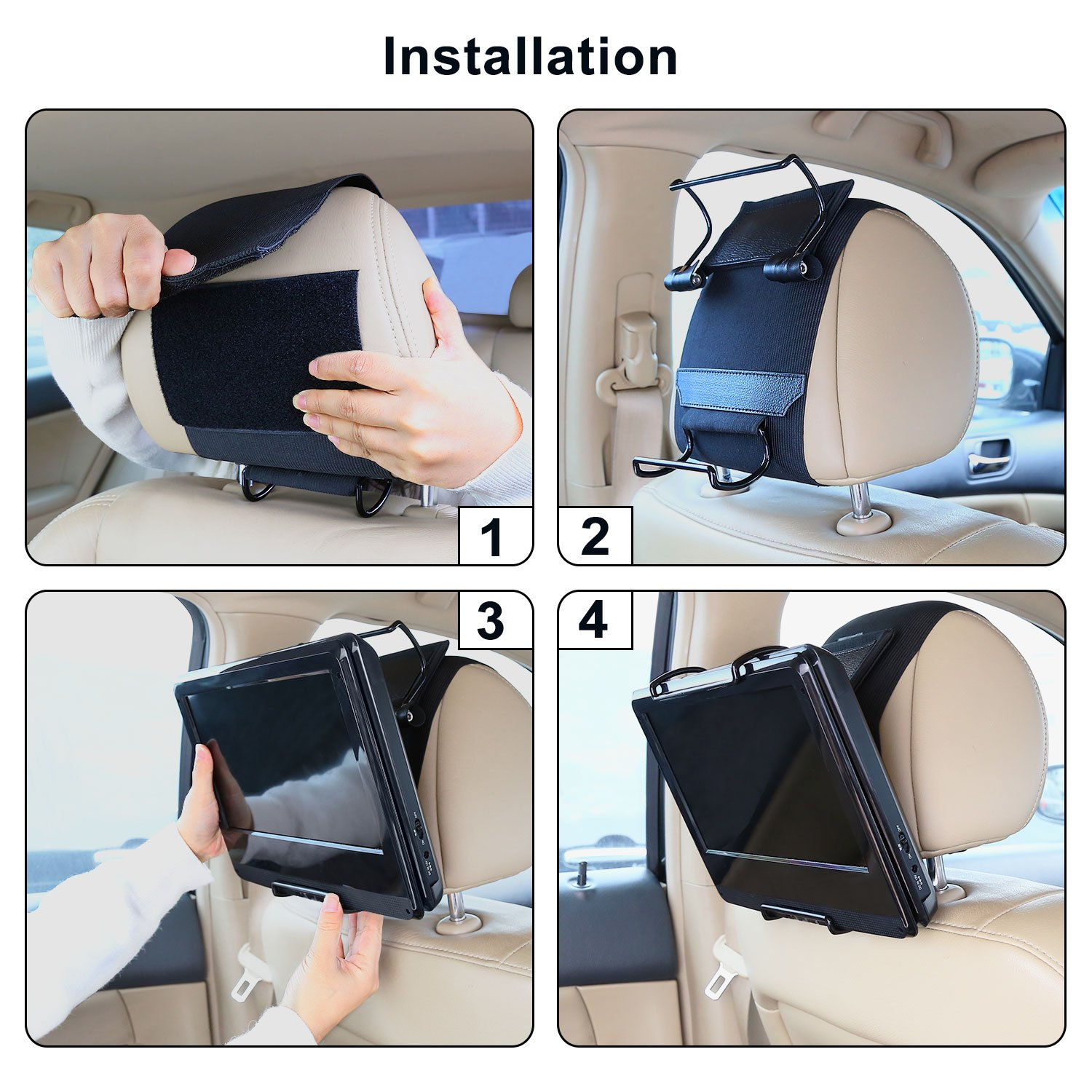 CUTRIP Car Headrest Mount Holder for CUTRIP 10.1 inch Portable Blu-ray Player and Fit for 10.1-12.5 inch Swivel Screen Portable DVD Players (DVD Player Thickness Requires about 35-42MM) by CUtrip (Image #5)