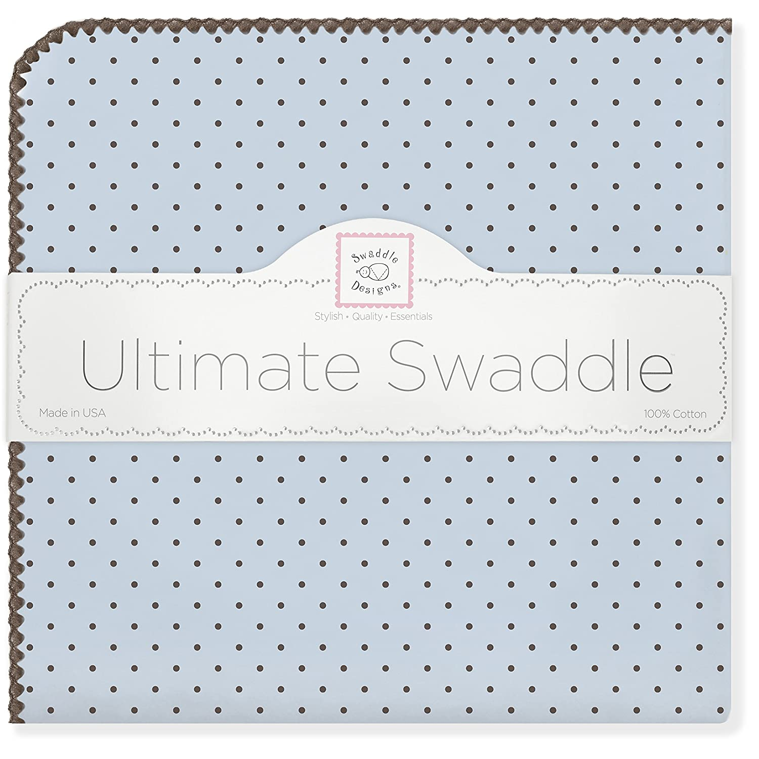 SwaddleDesigns Ultimate Swaddle, X-Large Receiving Blanket, Made in USA, Premium Cotton Flannel, Brown Polka Dots on Pastel Blue (Mom's Choice Award Winner)