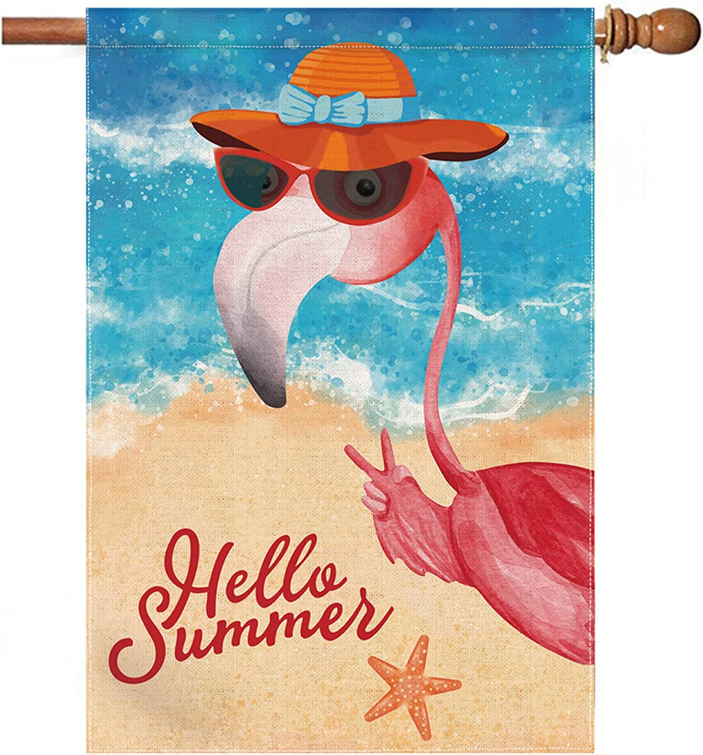 pinata Cool Hello Summer Flamingo Flags 28 x 40 Double Sided, Funny Welcome Large Garden Flags Summer Yard Flag Beach Pink Flamingo Decor Gifts, Seasonal Burlap Outdoor House Flag
