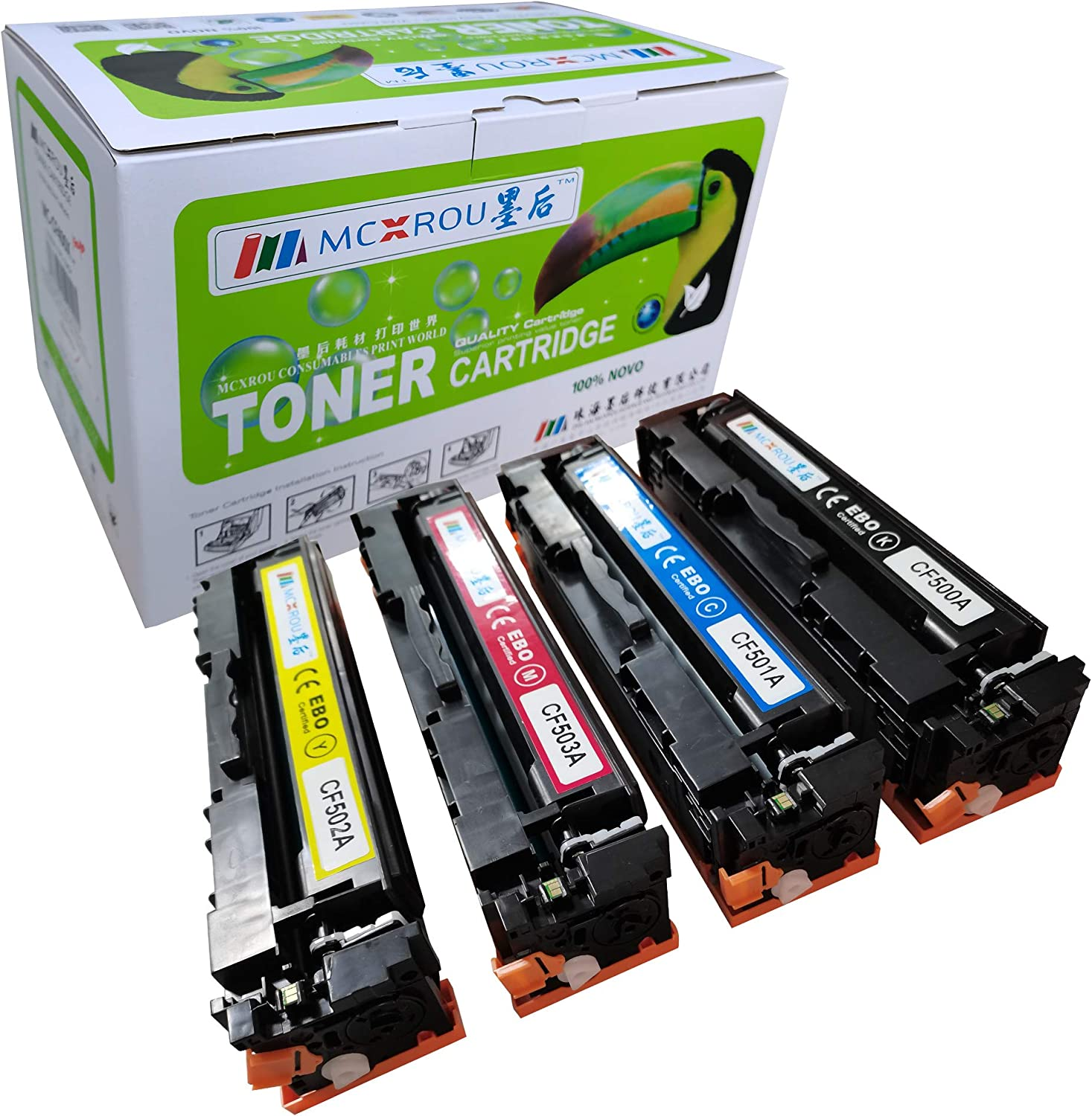 MCXROU MC-CF500A Compatible Toner Cartridge Replacement for HP CF500A 202A 202X CF500X Work for HP Laserjet Pro HP Laserjet Pro MFP M281fdw M281cdw M254dw M281 M254nw(Bk, C, M, Y, 4 Pack)