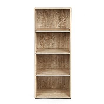 songmics estantera para libros librero con estantes biblioteca de niveles multiuso natural lbch
