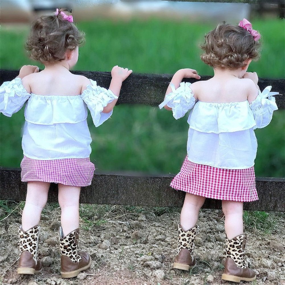 Plaid Mini Skirt Outfit Set Baby Girls Off Shoulder Ruffle Sleeve Bowknot Crop Top
