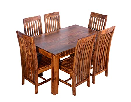 Ringabell Diet Six Seater Solid Wood Dining Table (Teak Finish)