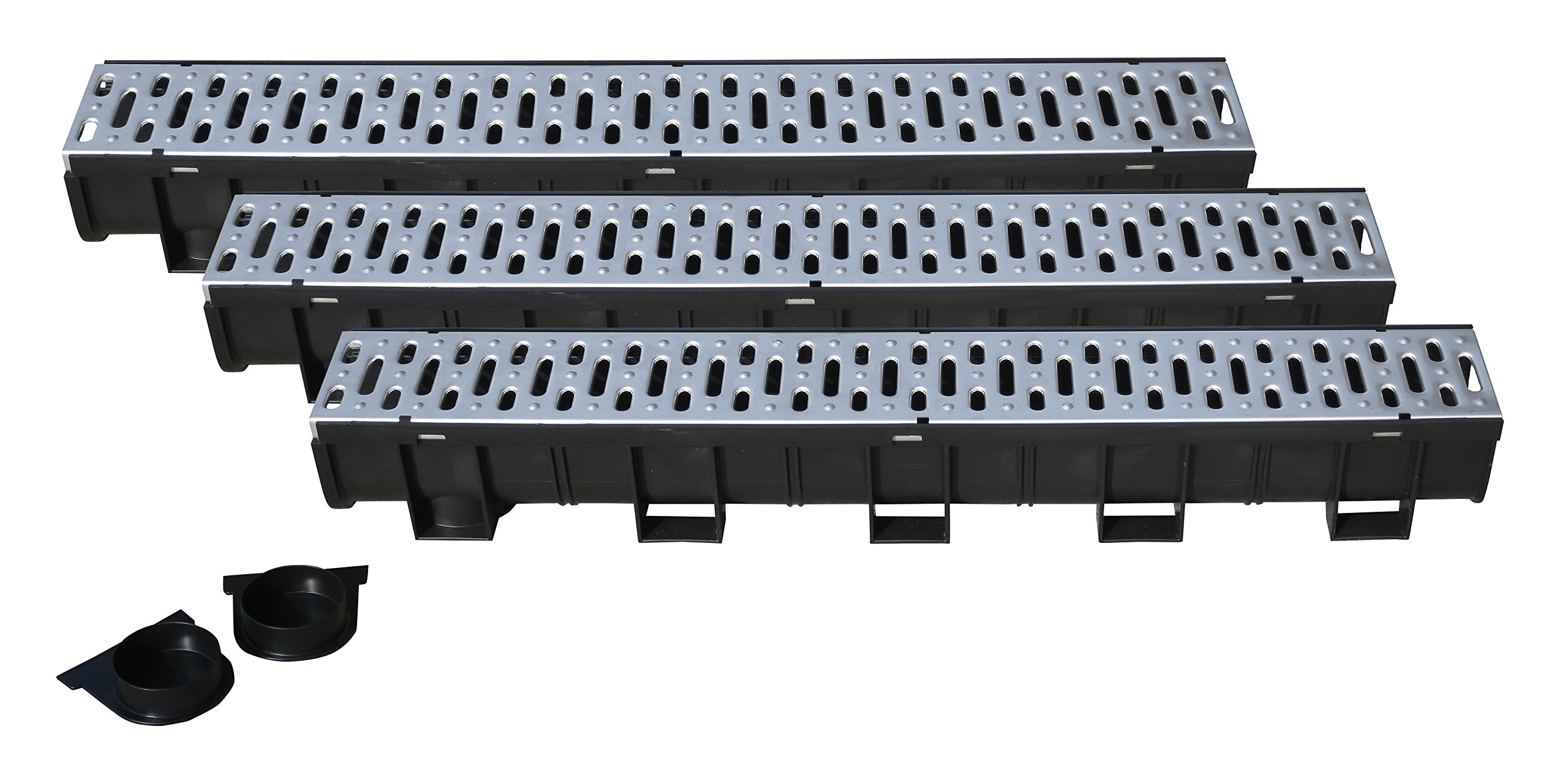 Regular Black Polymer Channel with Pressed Stainless Steel Grate - 3 x 3.33 Ft (10ft) Pack with 1 End Cap & Adaptor