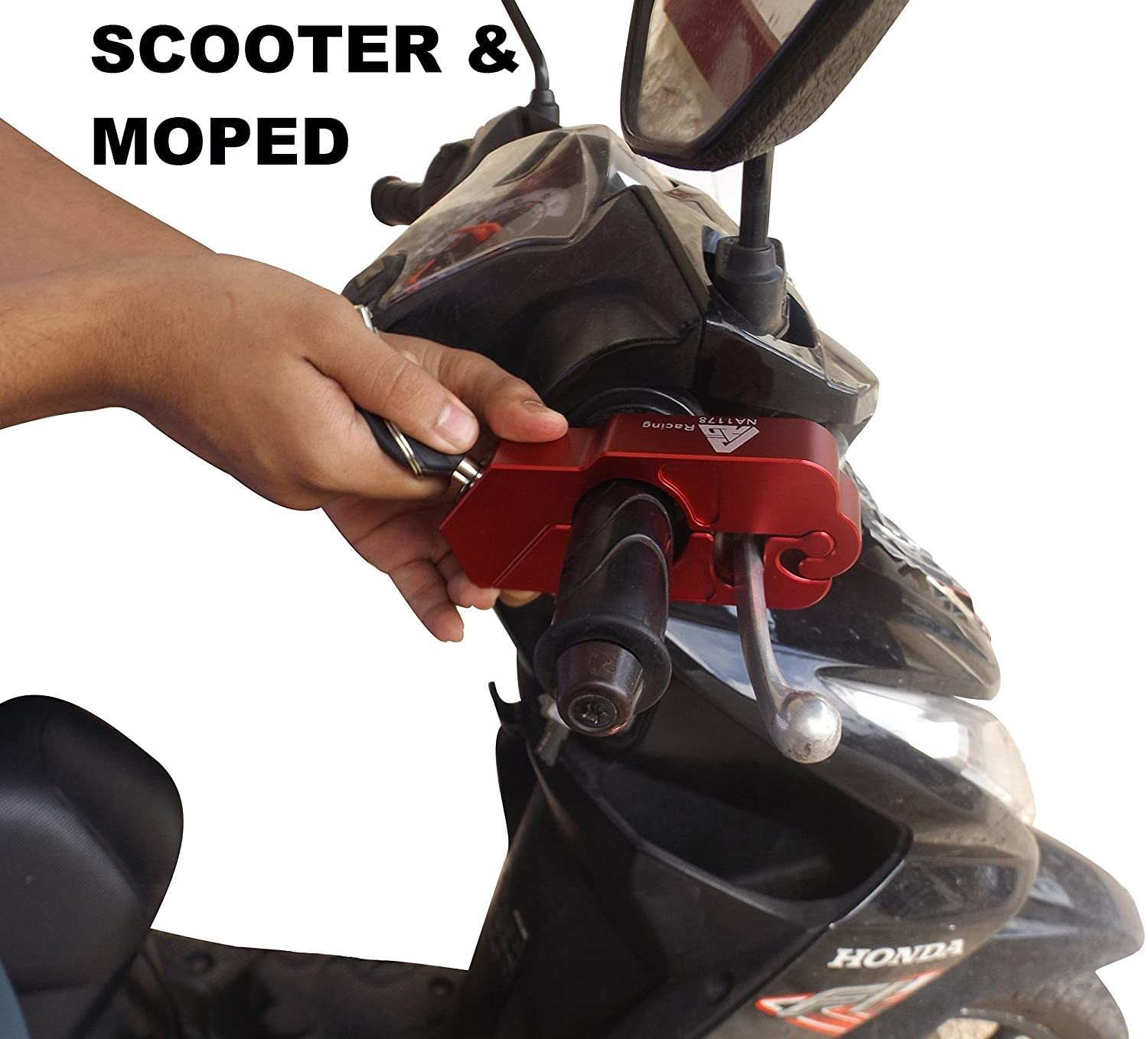 Motorcycle Lock A Grip Throttle Brake Handlebar Lock to Secure a Bike Scooter Moped or ATV in Under 5 Seconds From BigPantha Red