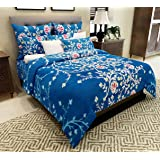 Home Candy Fancy 152 TC Polycotton Double Bedsheet with 2 Pillow Covers - Floral, Blue