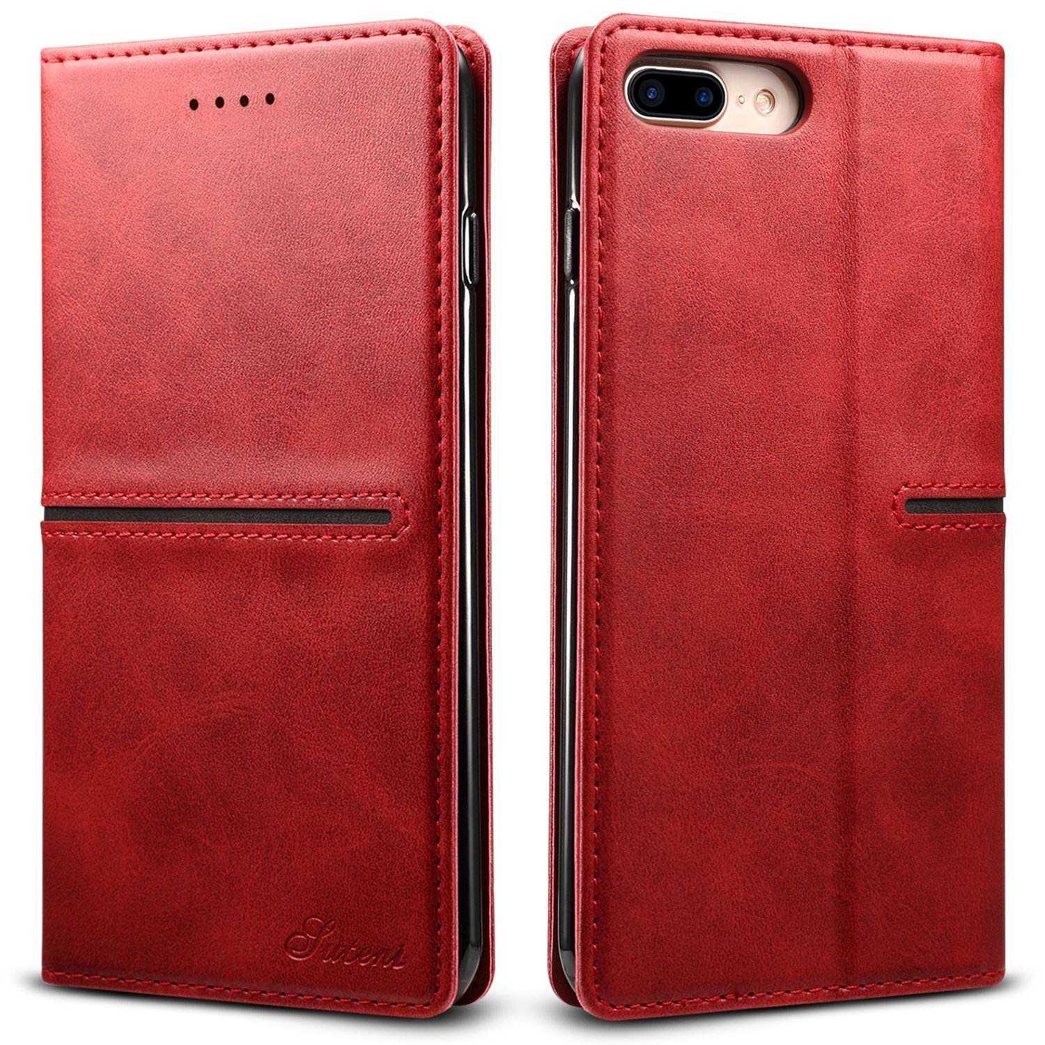 iPhone 7 Plus Leather Case, iPhone 8 Plus Case, XRPow Vintage Wallet Folding Flip Case with Kickstand and Card Slots Magnetic Closure Protective Cover (Red)