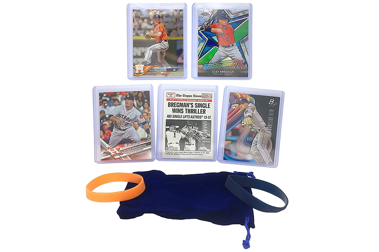 Alex Bregman Baseball Cards (5) ASSORTED Houston Astros Trading Card and Wristbands Gift Bundle Panini Bowman Topps