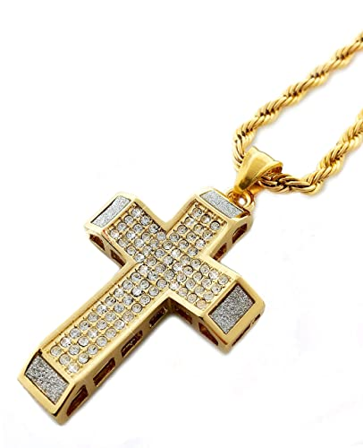 b16e804a9dd67 18k Gold Plated Iced Out Cross Pendant Necklace with 24
