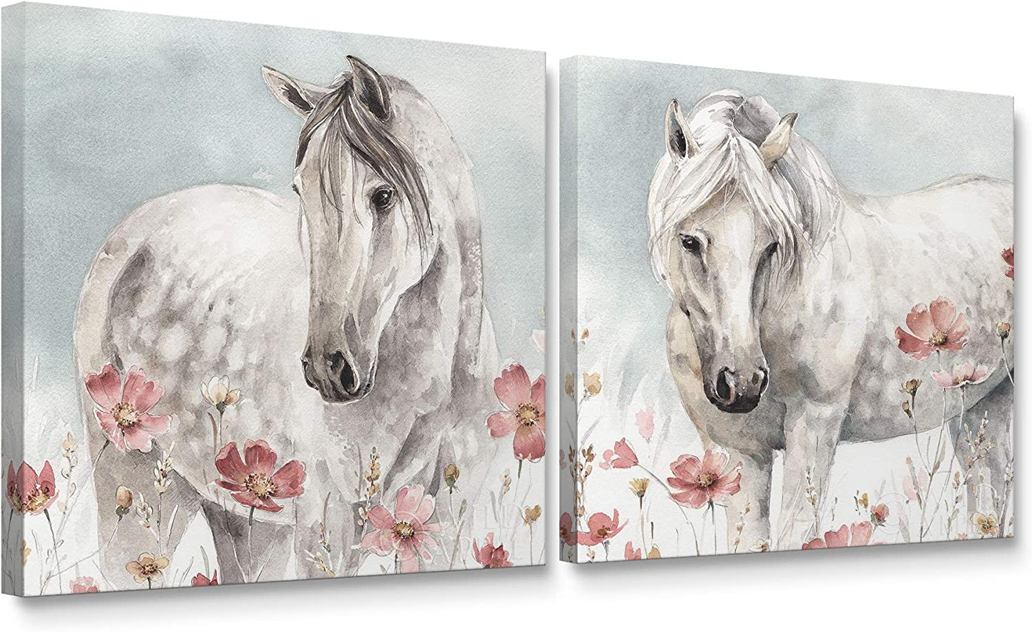 Niwo Art - Watercolor Horse and Flower, Horse Canvas Wall Art Home Decor,Stretched Ready to Hang