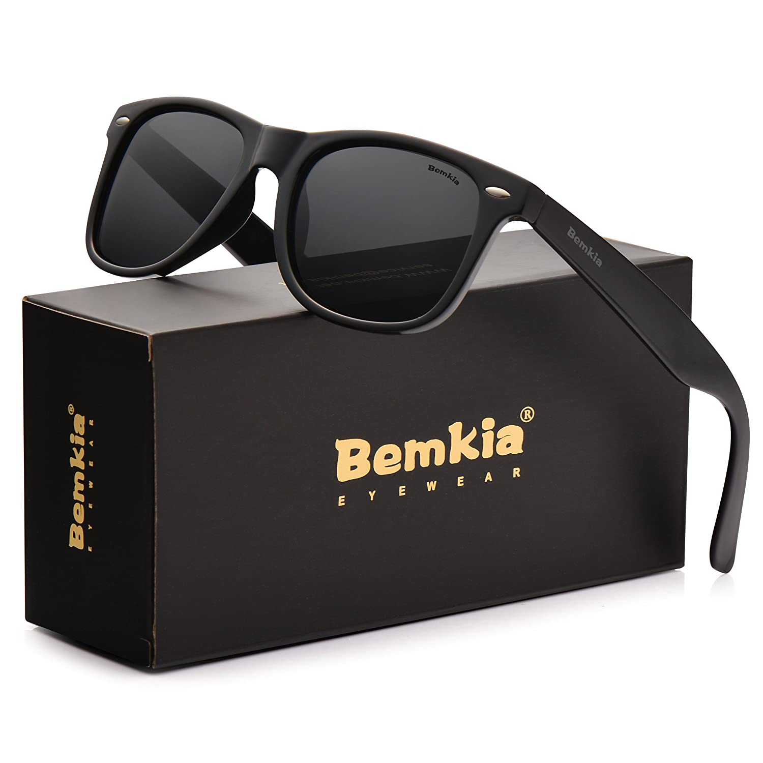 Bemkia Men Wayfarer Sunglasses Polarized Women UV 400 Protection 54 MM