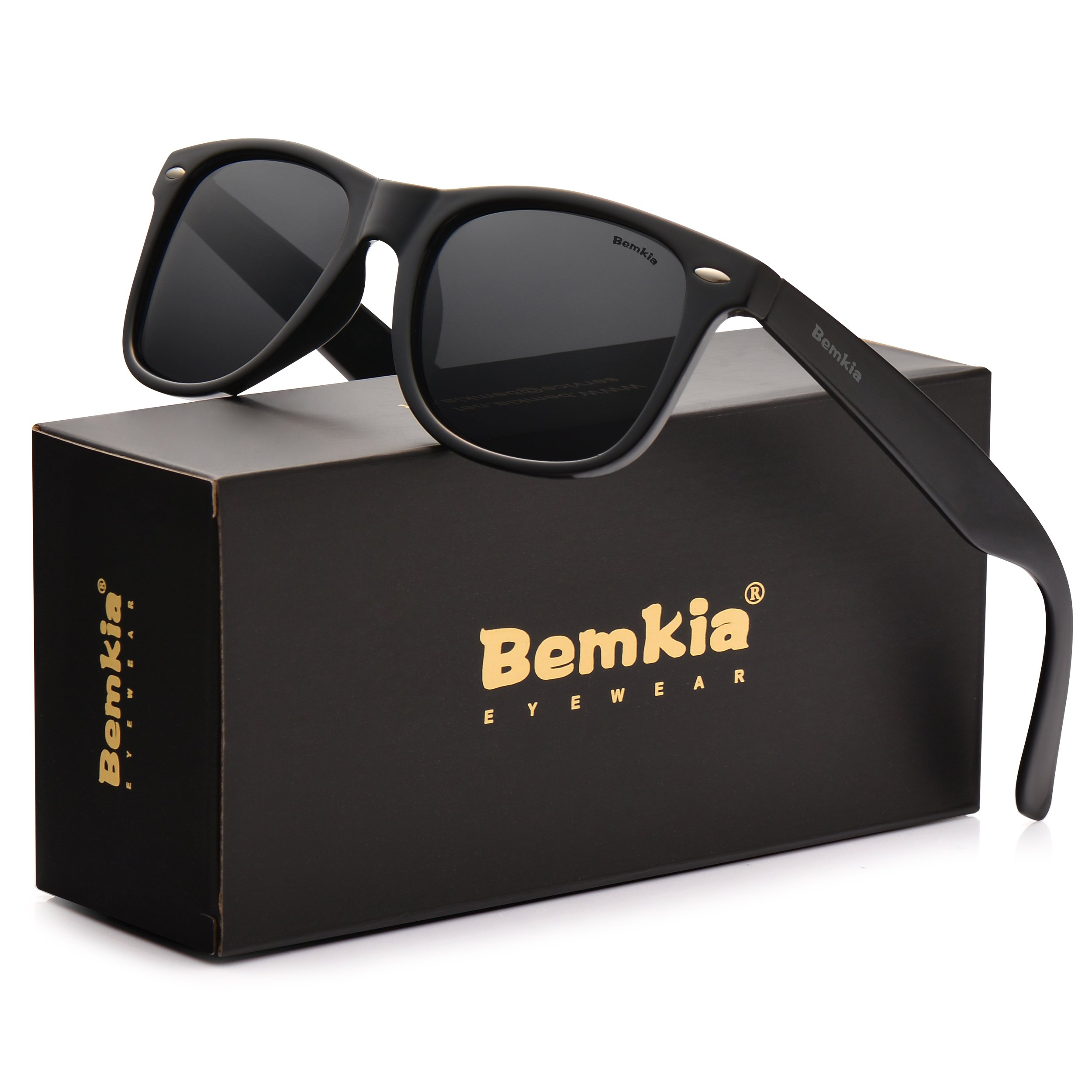 Bemkia Sunglasses Men Women Polarized Retro Classic UV 400 Protection 54 MM (13 Glossy Frame With Rivets/Black Non-Mirror Lens,54) by Bemkia