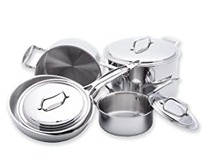 USA Pan 1550CW-1 5-Ply Stainless Steel 8 Piece Cookware Set, Oven and Dishwasher Safe, Made in the USA Silver