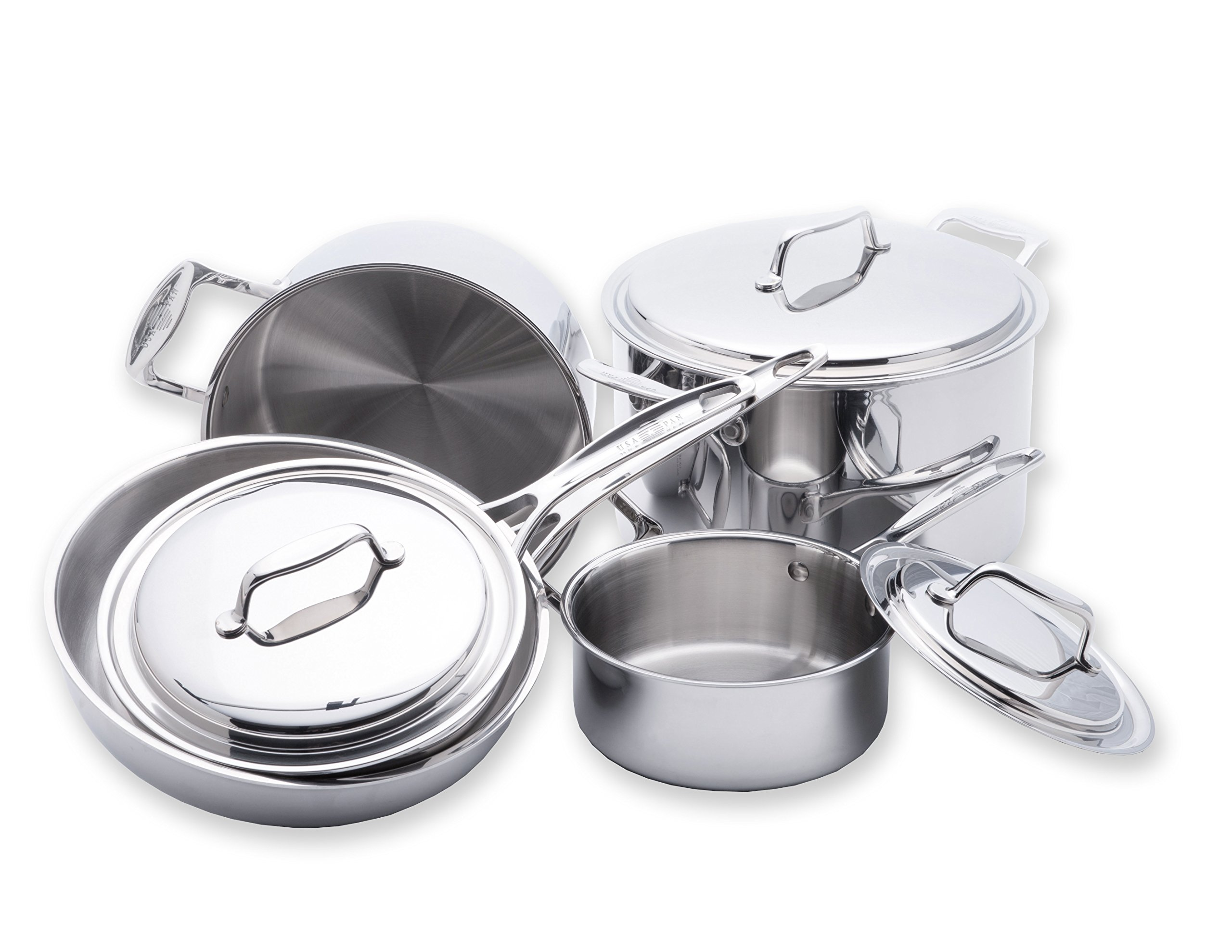 Usa Pan Cookware 5 Ply Stainless Steel 8 Piece Cookware