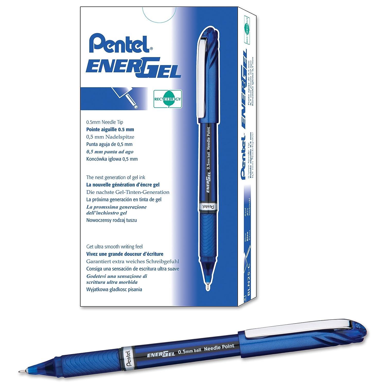 Pentel BLN25-AX EnerGel Plus 0.5mm Tip Pen Black Pack of 12