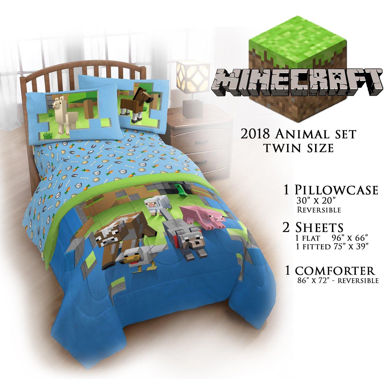 Minecraft Animal Bedding Comforter Set - Comforter, Sheet, Pillow Case