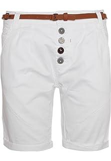 Sublevel Damen Chino-Shorts mit Flecht-Gürtel I Leichte Bermuda I Kurze  Hose in 3732c828de