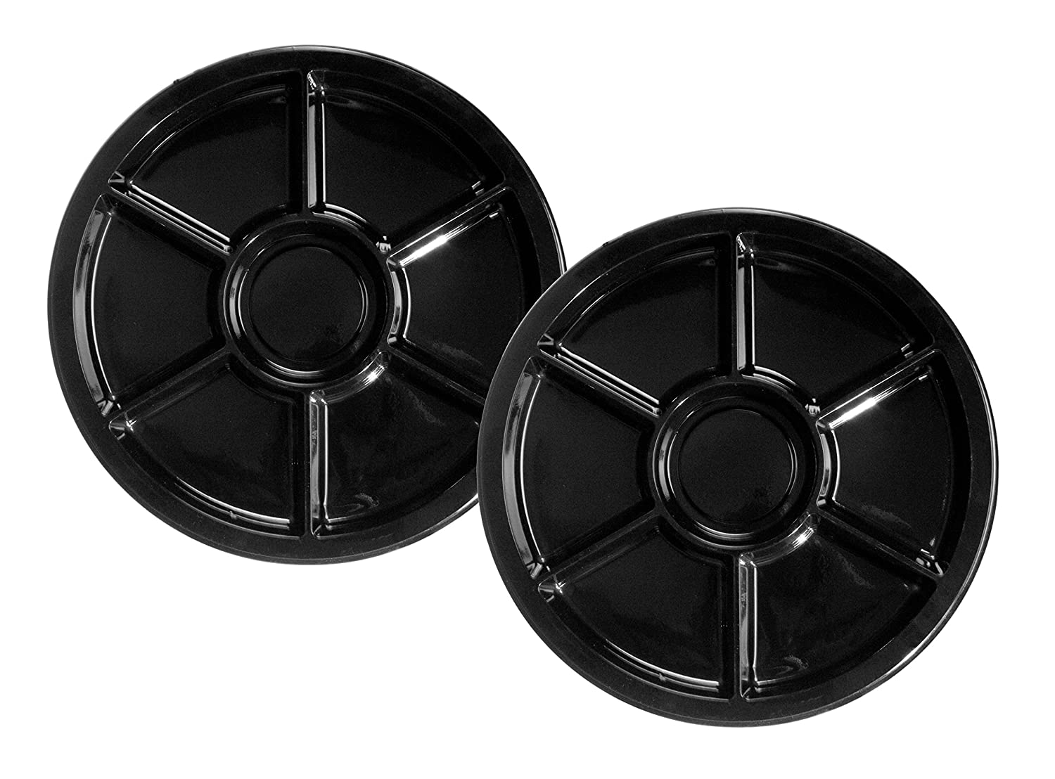 Party Essentials Soft Plastic 12-Inch Round Divided Catering Trays, Black, 3-Pack N400620
