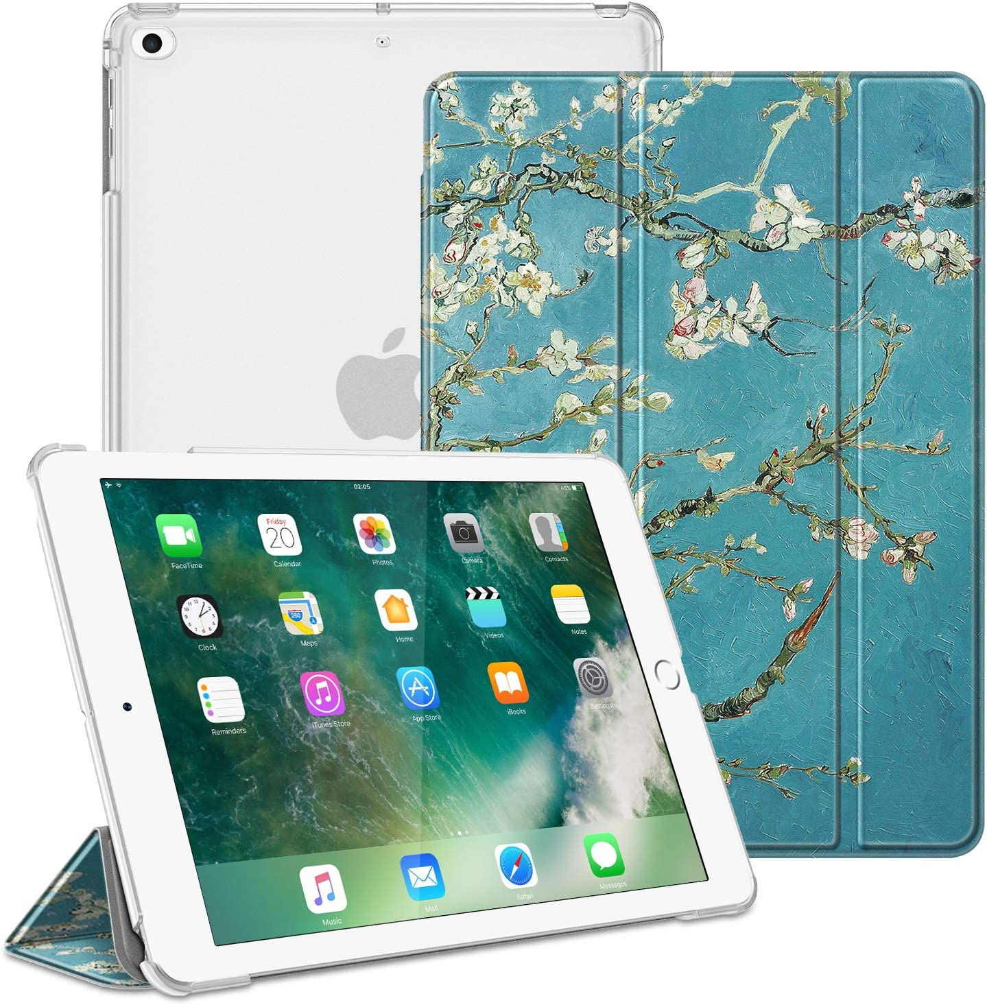 Fintie Case for iPad 9.7 2018/2017, iPad Air 2, iPad Air - Lightweight Slim Shell Cover with Translucent Frosted Back Protector Supports Auto Wake/Sleep for iPad 6th / 5th Gen, Blossom