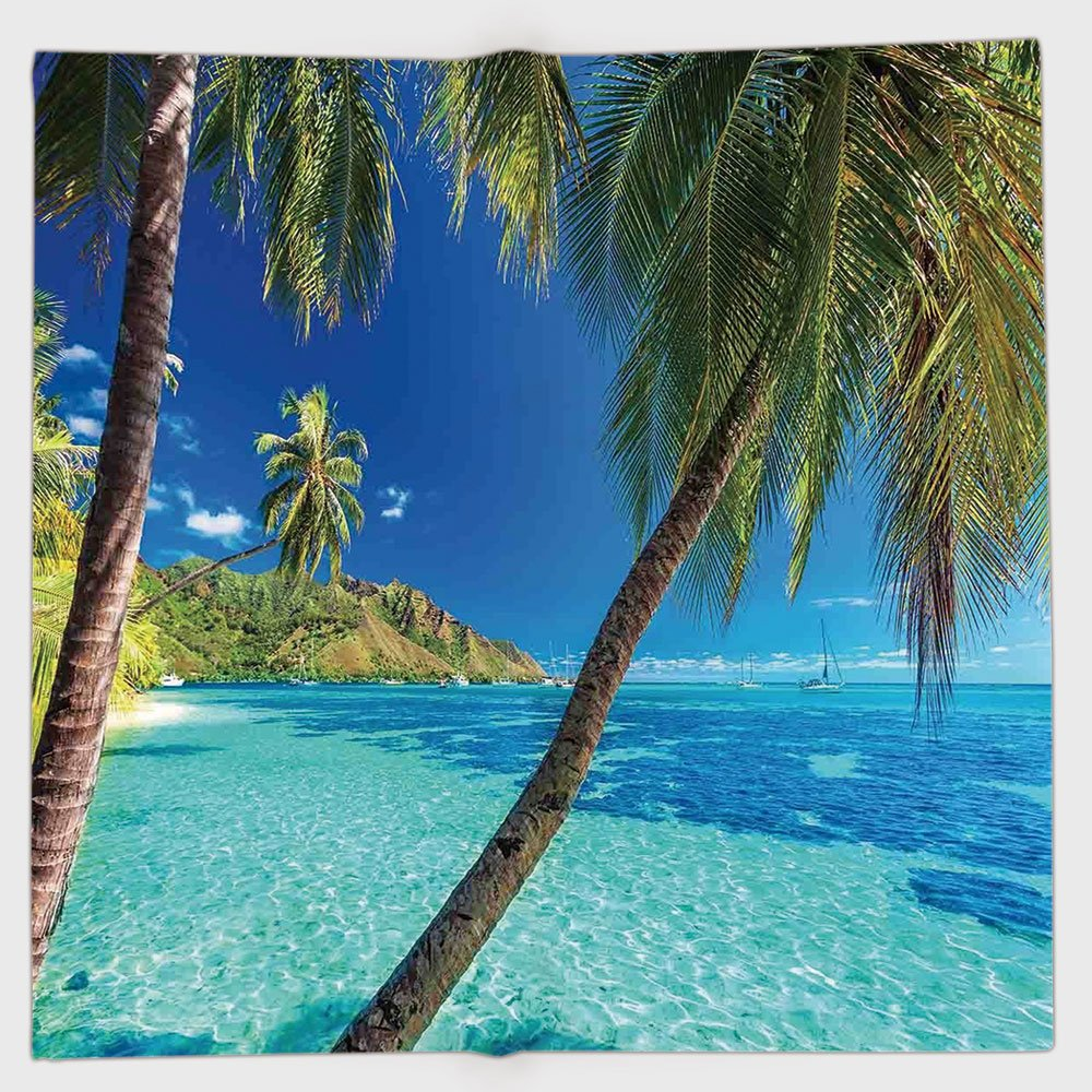Cotton Microfiber Hand Towel,Ocean,Image of a Tropical Island with the Palm Trees and Clear Sea Beach Theme Print,Turquoise Blue,for Kids, Teens, and Adults,One Side Printing