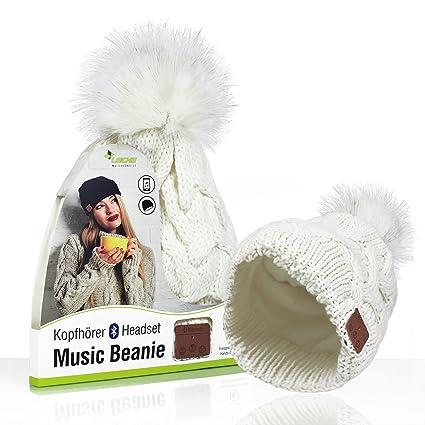 kabellos Sharon Music Beanie Cap Strickm/ütze Hellgrau intelligente Stereo-Kopfh/örer und Mikrofon