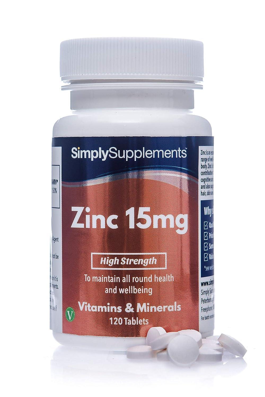 Zinc 15mg - 120 comprimidos - 4 meses de suministro - Mineral esencial - SimplySupplements