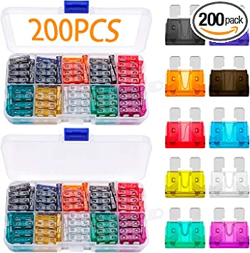 Standard 200 Pcs Blade Car Fuses Assortment Kit 2A//3A//5A//7.5A//10A//15A//20A//25A//30A//35A