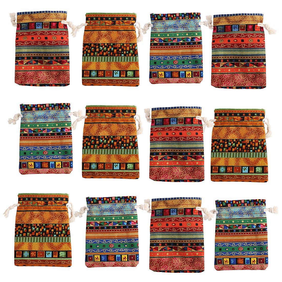 kilofly 12pc Egyptian Style Jewelry Coin Pouches Aztec Print Drawstring Gift Bag TBA406set12