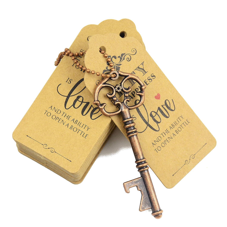Antique Copper Aokbean 52pcs Vintage Skeleton Key Bottle Opener Party Favor Wedding Favor Guest Souvenir Gift Set with Escort Thank You Tag Card and Keychain