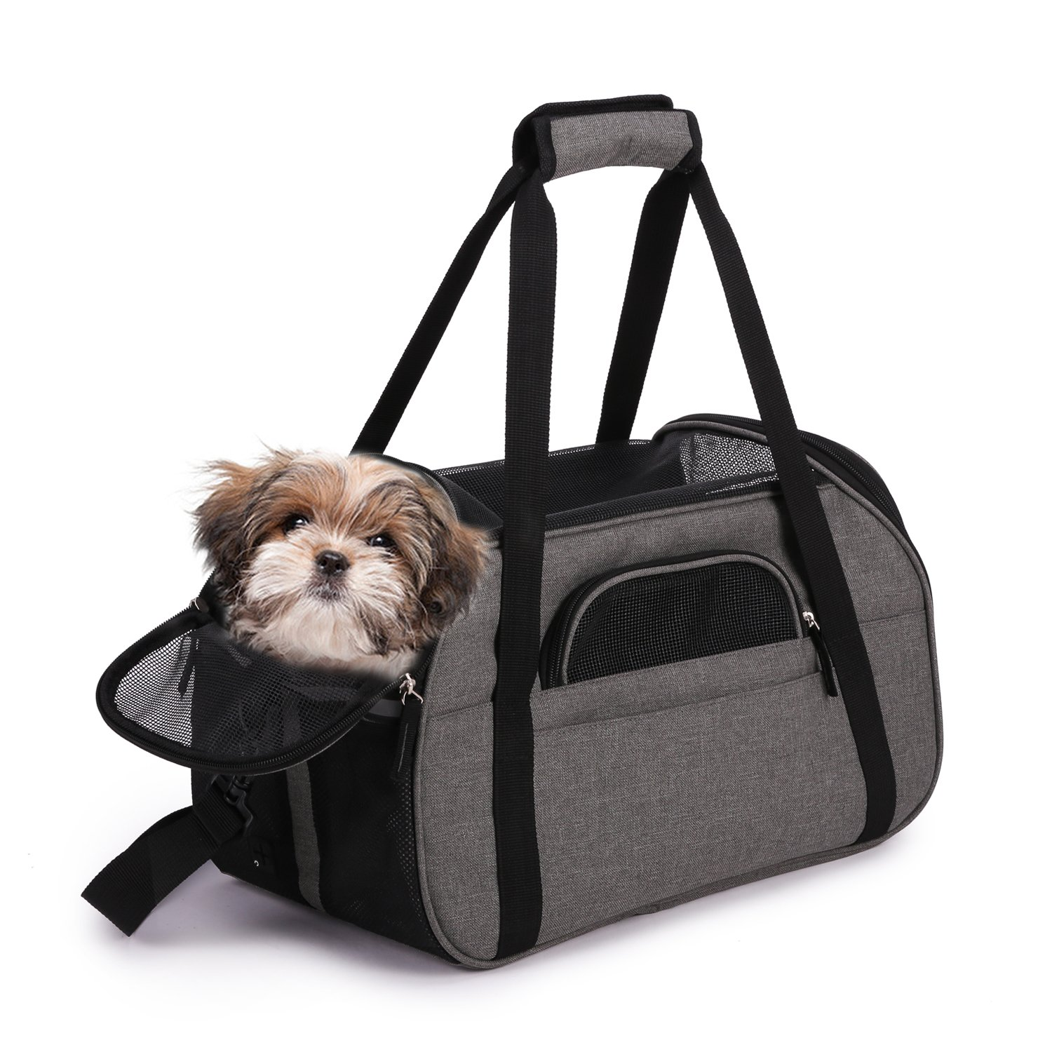 "Jespet Soft Sided Pet Carrier Comfort 17"" for Airline Travel, Portable Dog Tote Bag for Small Animals, Cats, Kitten, Puppy, Smoke Gray"