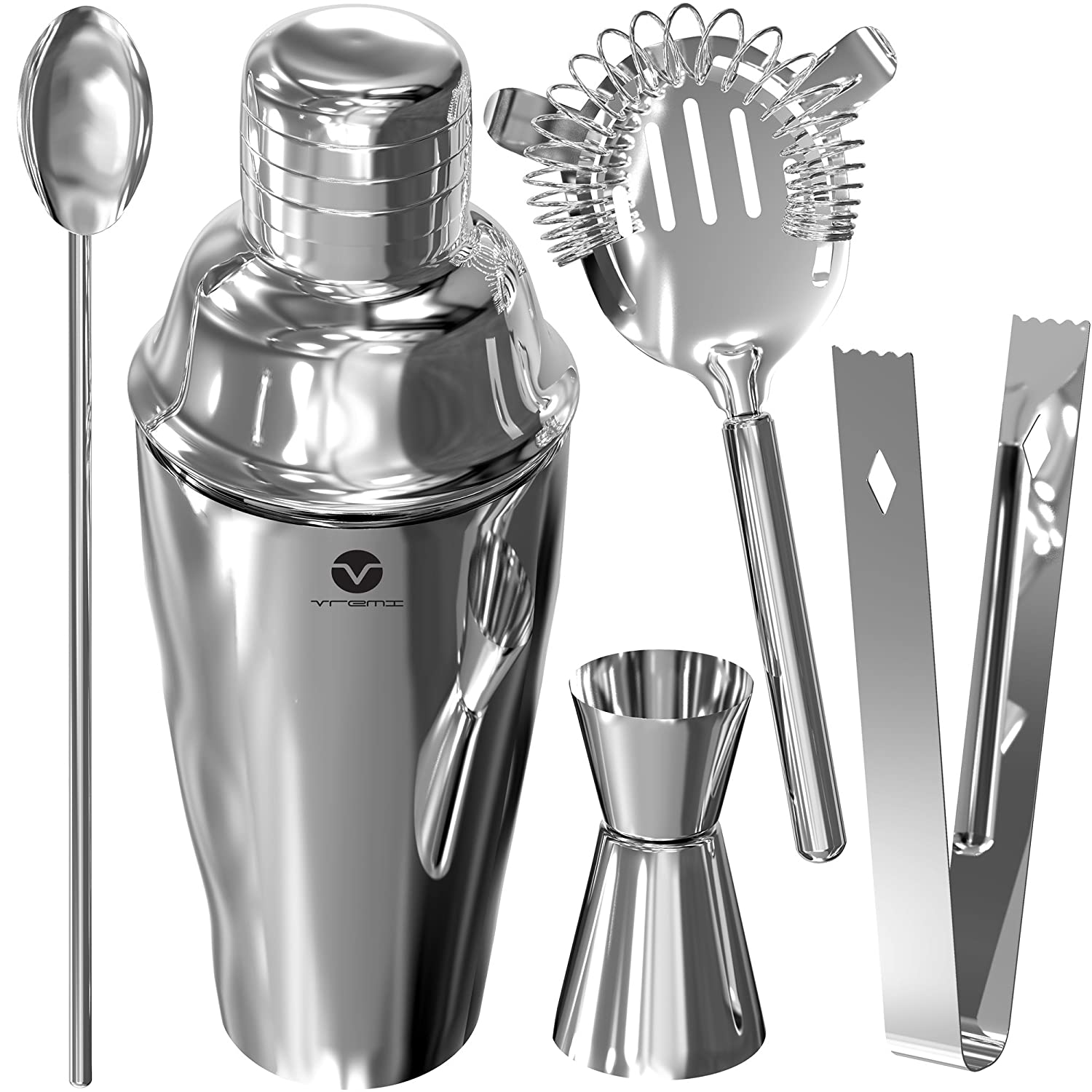 Vremi Stainless Steel Cocktail Shaker Set - 5 Piece Bartender Kit with Martini Shaker Strainer Jigger Shot Glass Stirring Spoon - Bartending Supplies Bar Tools Barware and Bartender Gifts Set - Silver VRM020028N
