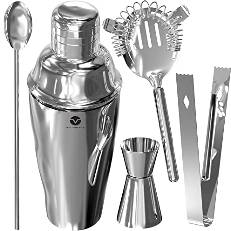 f982e0b00d28e Vremi Stainless Steel Cocktail Shaker Set - 5 Piece Bartender Kit with  Martini Shaker Strainer Jigger Shot Glass Stirring Spoon - Bartending  Supplies ...