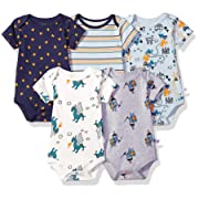 Rosie Pope Kids' Toddler Baby 5-Pack Bodysuits, Dragons, 0-3 Months