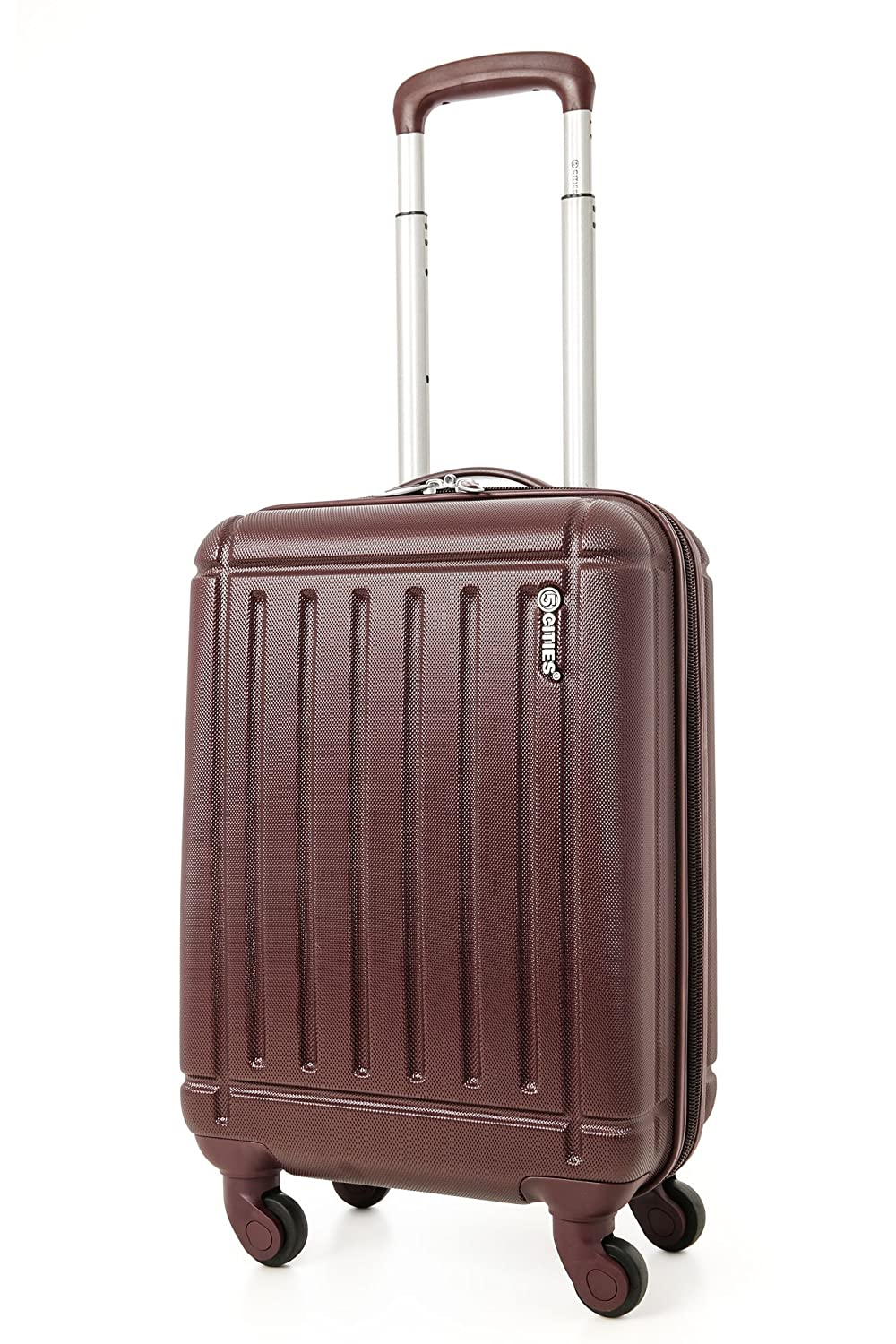 5 Cities Lightweight Abs Hard Shell Cabin Suitcase Approve for Ryanair Easyjet British Airways and More ABS105 Black 21 Hand Luggage, 55 cm, 32.0 L, Black