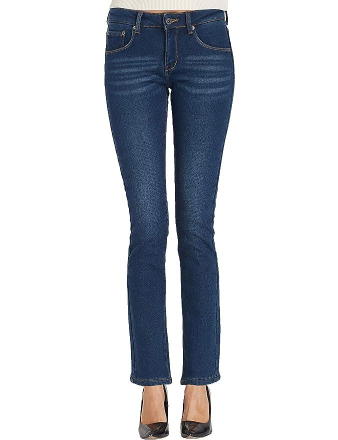 Camii Mia Damen Jeanshose Slim Fit Jeans Fleece Gefüttert Stretch Mid Waist