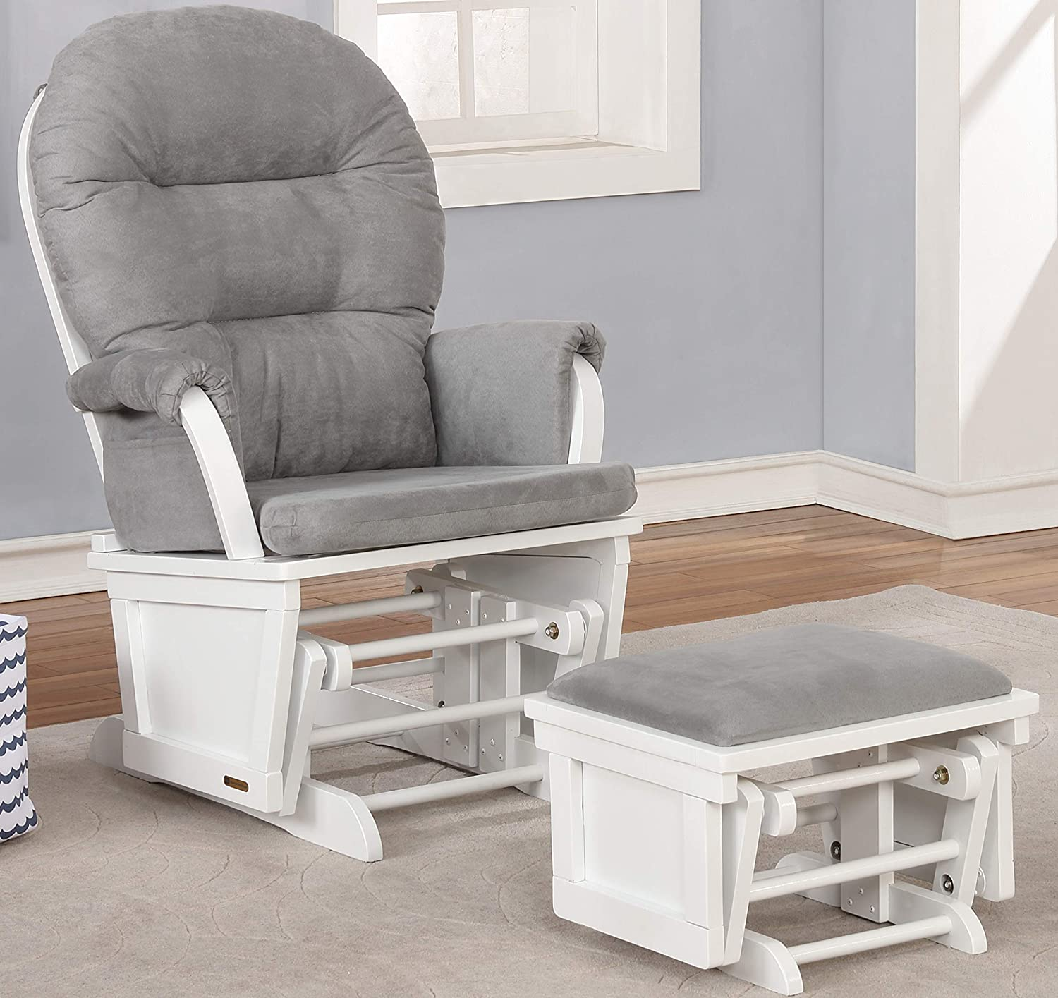 White with Gray Napoli Glider Chair with Nursing ottoman and Retractable foot Rest